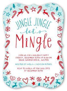 Holiday Party Invitations Jingle Jingle Mingle Holiday Invitation, Bracket Corners, Blue