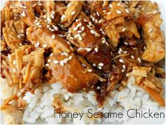 Slow Cooker Honey Sesame Chicken Recipe - This restaurant-style Chinese chicken slow cooker recipe is a delightful weeknight meal idea.