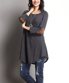 Another great find on #zulily! Charcoal Stripe Elbow Patch Scoop Neck Tunic by Reborn Collection #zulilyfinds