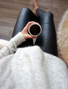 Leather leggings & cozy sweater