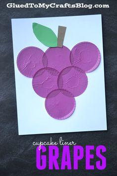 Cupcake Liner Grapes - Kid Craft - Glued To My Crafts Fruit Crafts, K Crafts, Alphabet Crafts, Shape Crafts, Daycare Crafts, Letter A Crafts, Sunday School Crafts, Glue Crafts, Arts And Crafts
