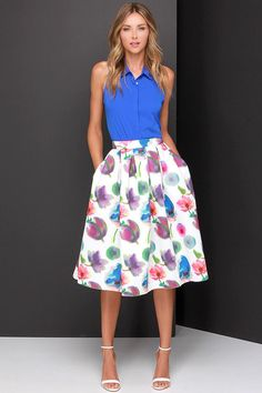 d51e757a56 Spice up Sunday brunch with the Posie On Over Ivory Floral Print Midi Skirt!  Ivory floral print scuba knit shapes this structured high-waisted skirt  with ...