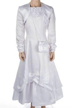 """Kommunionkleid - Zierblumen - Satin      Diese Kombination besteht aus Kleid, Bolerojacke und kleiner """"Handtasche""""  Kleid      Ausgefa..."""