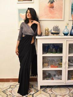 Groovy black colour stylish looking chanderi silk saree exclusive bridal lehenga designed by sashi vangapalli Stylish Blouse Design, Fancy Blouse Designs, Designs For Dresses, Latest Saree Blouse Designs, Latest Design Of Blouse, Shagun Blouse Designs, Latest Blouse Patterns, Latest Suit Design, Traditional Blouse Designs