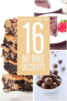 Easy and delicious no bake desserts. These gluten free and dairy free no bake dessert recipes are easy to make and perfect for any hot day. The perfect easy dessert recipes for any occasion. #glutenfree #dairyfree #glutenfreedesserts #dairyfreedesserts #easydesserts #nobakedesserts #nobake #recipes No Bake Desserts, Easy Desserts, Delicious Desserts, Vegan Desserts, Vegan Food, Vegan Recipes, Baking Recipes, Whole Food Recipes, Candy Recipes