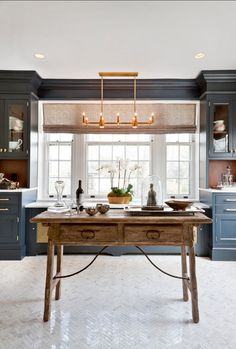 """Interior Design Ideas: Paint ColorThe cabinets are from Wood-Mode and use the """"Square Edge Regency"""" door style in """"Vintage Navy"""". Ceiling: C2 Kind of Blue"""