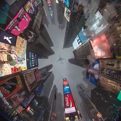 Upward view of Times Square