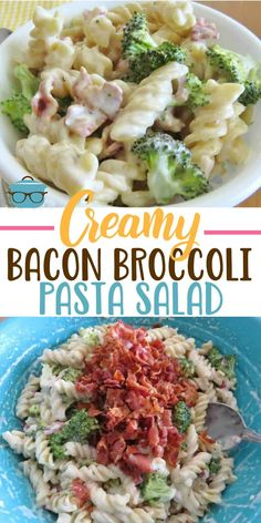 This Creamy Bacon Broccoli Pasta Salad is truly amazing! Rotini pasta, bacon, onion and broccoli tossed in a super yummy sweet and sour creamy dressing. Broccoli Pasta Salads, Creamy Pasta Salads, Pasta Salad Recipes, Spinach Salads, Broccoli Bake, Taco Salads, Spinach Recipes, Bacon Recipes, Weight Watchers Pasta