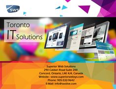Toronto IT Solutions:  SWS Web Designers are an award winning web design, development and digital marketing agency, with office in Toronto. We offer development services for websites, e-commerce and web & mobile apps. Visit : www.superiorwebsys.com