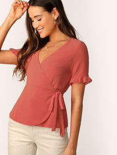 To find out about the Ruffle Cuff Surplice Wrap Knot Top at SHEIN, part of our latest Blouses ready to shop online today! Summer Shirts, Top Knot, Types Of Sleeves, Body, Blouses For Women, Fashion News, Ruffle Blouse, Peplum, How To Wear