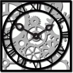 Silhouette Design Store - View Design #37096: roman clock and gears n cogs