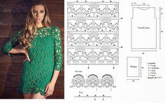 Artesanato com amor...by Lu Guimarães: Vestido Curto ou Blusa em Crochê com Detalhes em ponto Picô