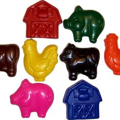 Recycled Chunky Barn Yard Crayons - Set of 4 / Farm Party Favors / Cow Pig Barn Chicken / Eco Unique