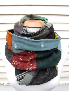 Recycled Eco infinity scarf. From etsy.com upcycled apparel. Zasra