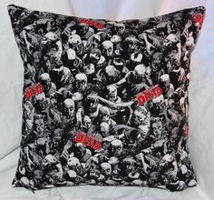 """14"""" Walking Dead Pillow made with 100% cotton and a zipper on the bottom for easy washing."""