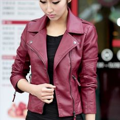 Buy from china:2015 New Spring Women Leather Jacket Red Black PU Plus Size Jackets KB620