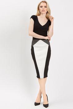 Monochrome Colourblock Skirt | Jane Norman