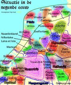 Nederland in de negende eeuw (klik op de afbeelding om een grotere te laden (207 kB)).