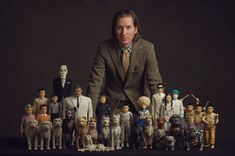 Wes Anderson and the cast of his new animated film, Isle of Dogs Movie.