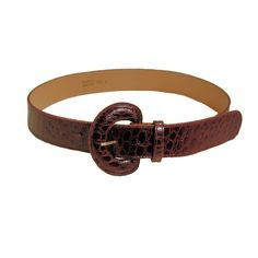 80s Wide Leather Belt Burgundy Alligator by MorningGlorious