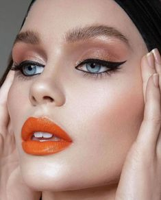 Add some drama to your classic makeup looks with a rich orange-hued lipstick. It's a warm shade that looks flattering on every complexion. Save Save Share via: 475 Shares 3 1 471 Orange Lipstick Makeup, Eye Makeup, Fall Makeup, Bright Lipstick, Burnt Orange Lipstick, Retro Makeup, Makeup Inspo, Makeup Inspiration, Sexy Make-up