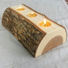 Candle Holder - split log reversible bark on wood candle holder with pure beeswax candles.via Etsy. Wooden Projects, Wooden Crafts, Log Projects, Log Candle Holders, Selling Handmade Items, Log Furniture, System Furniture, Beeswax Candles, Wood Slices