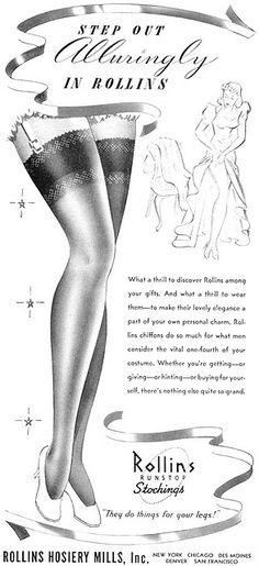vintage advertising - All About Vintage Stockings, Silk Stockings, Stockings Heels, Pantyhose Heels, Stockings Lingerie, Retro Mode, Mode Vintage, Vintage Ads, Lingerie Vintage