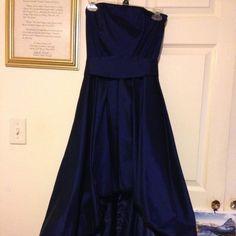 Navy blue prom dress Navy blue prom dress front hem up and back hem down.   Sasha at back shoulders out Size Small Samuel Dong Dresses Prom