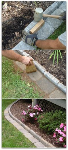 Brick edging for your flower beds and other great DIY Backyard Hacks
