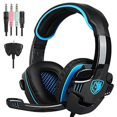 GHB SADES SA708GT Gaming headset Gaming Headphone with Microphone For PS4Xbox 360 PC Laptop Cellphone Black Blue *** Visit the image link more details. (Note:Amazon affiliate link)