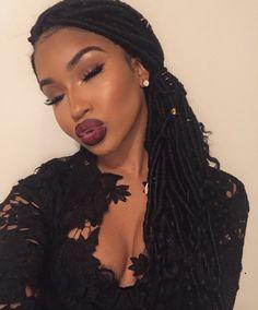 Braids Wig, Box Braids, Cornrows, Beautiful Lips, Beautiful Black Women, Black Girls Hairstyles, Cute Hairstyles, Gloss Labial, Flawless Makeup