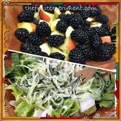 "Lunch: 2 pints blackberries + 2 apples; cucumber noodles w/ ""creamy"" garlic-lime dressing over Romaine lettuce"
