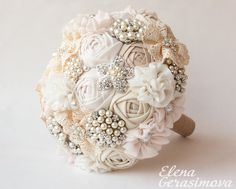 Brooch Bouquet. Ivory Fabric Bouquet Vintage Bouquet by feltdaisy, $180.00