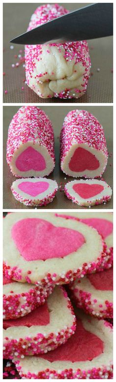 Homemade Valentine's Day Slice N' Bake Cookies ~ The flavor and texture is phenomenal... Step by step video!