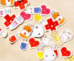 With+these+cute+medical-related+stickers,+your+trips+to+the+doctor's+will+never+be+painful+again!+:)+The+sticker+pack+comes+in+the+following+12+designs:  -+Good+tooth+&+bad+tooth -+Syringe -+Pill+bottle -+4+Colored+Pills+(Blue,+Red,+Orange,+Yellow) -+Red+Cross -+Band-aid -+Pink+&+Red+Hear...