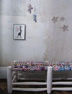 Banc en bois artisanal patine blanche | LES PETITS BOHEMES bench from target