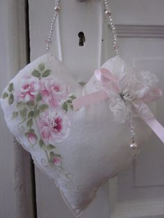 Pretty little hanging heart pillow with hand by KarensTatterdRoses, $16.00