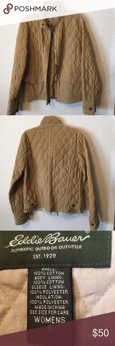 Quilted Tan Eddie Bauer Coat Tan Eddie Bauer coat. Quilted in great condition! Has zipper and buttons Eddie Bauer Jackets & Coats