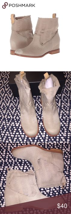 Size 8 Joe Jean's Mirage Tan Bootie Unique slouchy ankle booties with hidden wedge boost and distressing at heel and toe - perfect for warmer weather! New in box/never worn. Fits slightly narrow. Fabric upper, man made sole (Styling photos from LA by Diana style blog) Joe's Jeans Shoes Ankle Boots & Booties