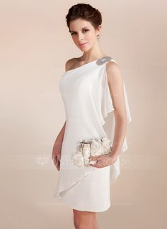Sheath column one shoulder short mini chiffon wedding dress with beading cascading ruffles 002011748 24 bridal gowns with sleeves never fails to impress Cute Dresses, Beautiful Dresses, Short Dresses, Prom Dresses, Formal Dresses, Bridesmaid Dresses, Wedding Dress Chiffon, Wedding Party Dresses, Vestidos Fashion