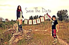 Motor cross inspired. Save the date.