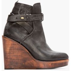 RAG & BONE Black Leather Emery Wooden Wedge Boots ($298) ❤ liked on Polyvore featuring shoes, boots, ankle booties, wedges, booties, high heel booties, leather booties, platform booties, black wedge booties and black leather ankle booties