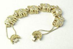 Gold & Rhinestone Elephant Slide Slider by WeLoveVintageJewelry, $25.75