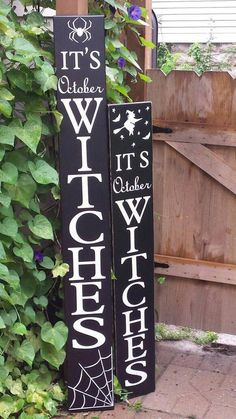 It's October Witches 5 Ft Porch Sign Reversible Distressed Wood Sign Extra Large Oversized Halloween Decor Primitive Fall Decor Spider Witch #christmasdiy