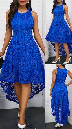 Sleeveless Round Neck Royal Blue High Low Lace DressDark-blue Lace Splicing High Low Elegant Chiffon DressV Back Cap Sleeve Lace Skater Dress Dresses Elegant, Elegant Wedding Dress, Pretty Dresses, Sexy Dresses, Casual Dresses, Beautiful Dresses, Summer Dresses, Lace Dresses, Formal Dresses