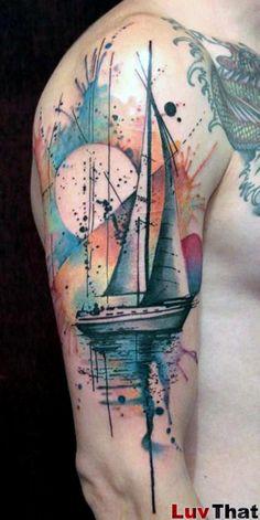 sailboat abstract watercolor tattoo