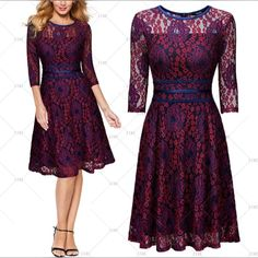 """This is a cute little vintage inspired dress. Made to bring back memories of yesterday, this little dress has a floral lace design. The dress has a rounded neck-line, 3/4 sleeve, a-line style, zipper in back and knee length. Made from70% Polyamide and 10% Cotton.    Available in sizes Small to 2XL (US 4 - 14) with the following measurements:    Small, US 4 - 6:Bust Range32.3"""" - 34.3"""", Waist 27.6"""", Shoulder Width 14.2"""", Dress Length 40.2""""    Medium, US 8:Bust Range34.3"""" - 36.2"""", Waist…"""