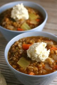 Lentil Vegetable Soup with Whipped Feta