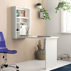Zipcode Design Andersonville Solid Wood Floating D Secretary Desk With Hutch, Desk Hutch, Secretary Desks, Wall Mounted Desk, Wall Desk, Wall Shelves, Fold Out Desk, Fold Away Desk, Solid Wood Desk