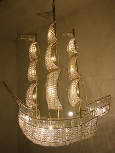 Rock and Royal |Artwork designers in The Netherlands. Three masted sailing ship chandelier
